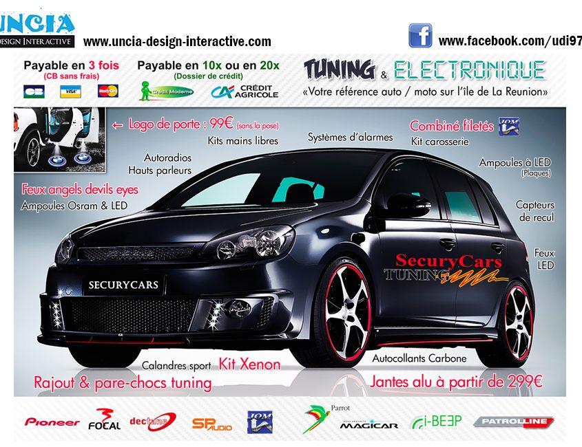 Publicité Réunion : Flyers pour Sécurycars Tuning. (par Uncia Design Réunion)