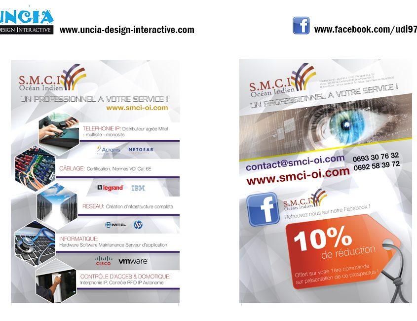 Publicité Réunion : Flyers pour SMCI Océan Indien. (par Uncia Design Réunion)