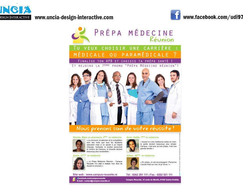 Publicité Réunion : Flyers pour Prépa Médecine Réunion Campus Réussite. (par Uncia Design Réunion)