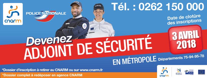 Recrutement Adjoint de Sécurité Métropole - CNARM